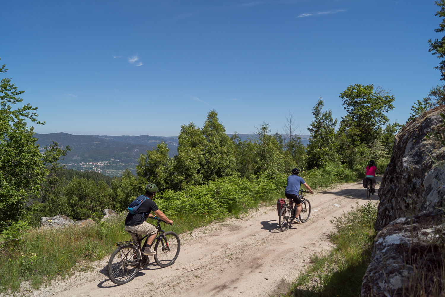 Biking on dirtroads in a mountain scene, Day tours, Vale do Vouga, Serra do Ladário, Portugal